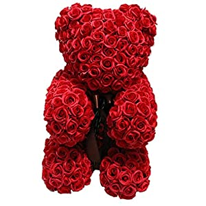 Rose bear, artificial rose bear, lovely heart-shap Rose Bear Toy Valentine's Day Creative Gifts Forever Artificial Roses Flowers Anniversary Wedding Birthday Lovers Gifts For Your Lover. Artificial PE 42