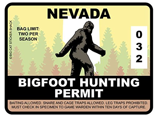 Bigfoot Hunting Permit - NEVADA (Bumper Sticker)