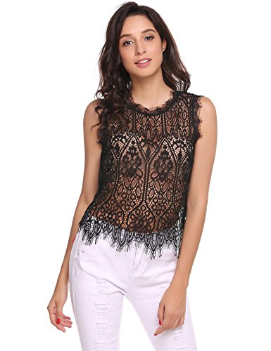 Zeagoo Women's Sexy See Through Round Neck Sleeveless Club Wear Floral Lace Tank Tops,Black,Small