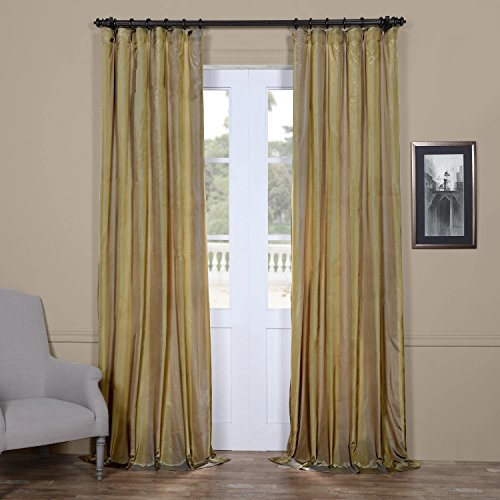 Half Price Drapes PTS-SLK702A-96 Faux Silk Taffeta Stripe Curtain, 50 X 96, Riviera - Taffeta Stripe Rod Pocket Curtain