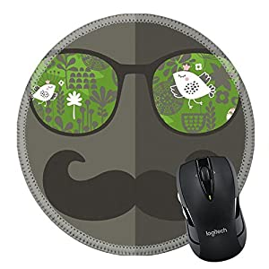 MSD Natural Rubber Mousepad Round Mouse Pad/Mat: 27886528 Retro sunglasses with reflection for hipster Vector illustration of accessory glasses isolated Best print for eyeglasses advertisement