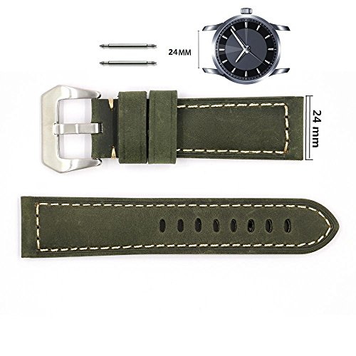 24mm Panerai Genuine Leather Watch Band Men Vintage Strap with Stainless Buckle-Dark green
