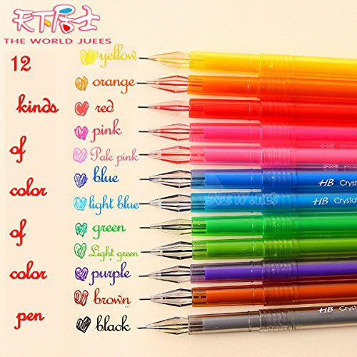 12pcs 0.5mm Colorful Gel Pens Student Office Accessories Fine Point