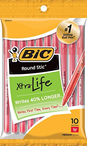 BIC Round Stic Xtra Life Ballpoint Pen, Medium Point (1.0mm), Red, -