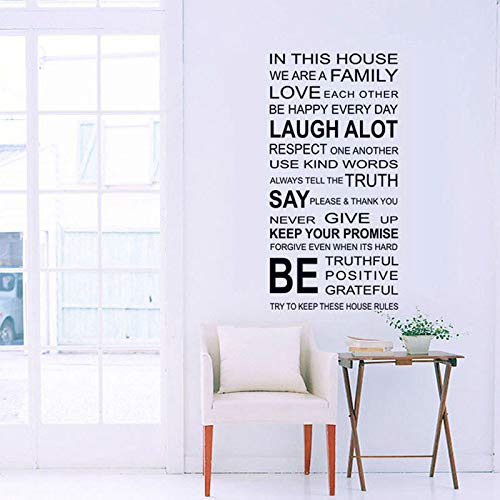 Pegatinas de baldosas YLLYSQ Proverbios en inglés Etiqueta de la Pared Reglas de la casa de la Familia Pegatinas de Pared Calcomanía DIY Decoración Home Kids Great Gift Wallpapers60x115cm