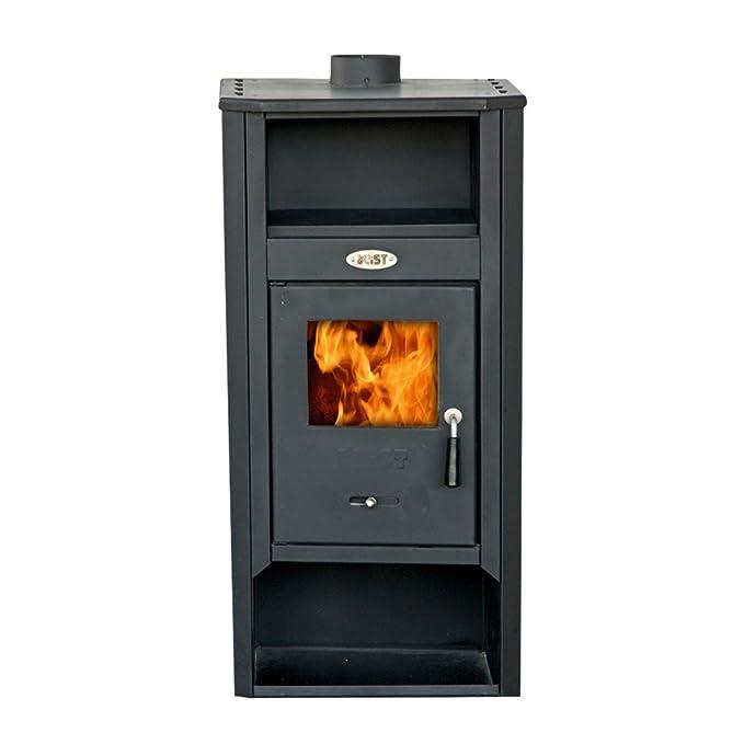 Divina Fire estufa a leña 9 - 10 KW acero Beige Calefacción Casa df51699: Amazon.es: Hogar