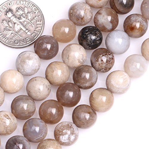 - GEM-inside Natural 8mm Round Multicolored Ocean Fossil Agate Beads for Jewelry Making Strand 15