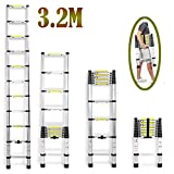 2018 NEW Design DIY Multi-Purpose Aluminium Telescopic Ladder Portable Foldable Ladder Extension Extend Ladder (3.2M)