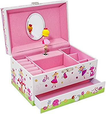 Lucy Locket Enchanted Fairy Musical Jewelry Box for Children Glittery Kids Music Box with Ring Holder