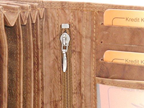 J1213 Damen Leder Geldbörse Damen Portemonnaie Damen Geldbeutel - Lang Mittel Kurz verschiedene Farben --präsentiert von RabamtaGO®-- (mittel-Bordeaux) mittel-Schwarz