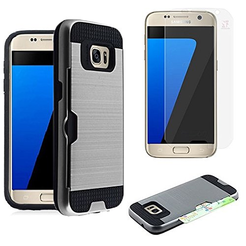 For Samsung Galaxy S7 SM-G930 Slim Armor Case [SlickGearsTM] Premium Shock Impact Protection Dual Layer Rugged Case with ID/Credit Card Holder and LCD Screen Protector Combo (Metallic Gray) (Screen Combo Premium Protector)