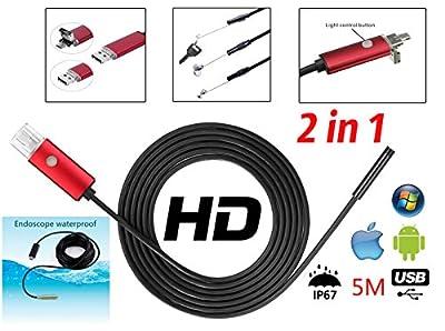 2 in 1 USB Endoscope camera Semi-rigid Borescope Inspection black
