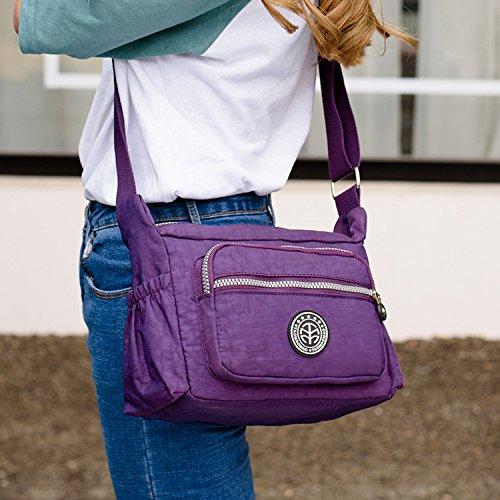 Outreo Bolsos de Moda Casual Bolso Bandolera Mujer Ligero Bolsos Escolares Bolsas de Deporte Impermeable Bolsas de Viaje para Tablet Bag Negro