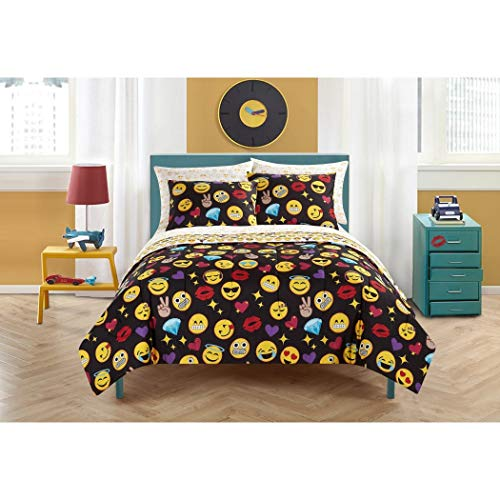DP 5pc Yellow Black Purple Red Emoji Smilie Faces Theme Comforter Twin XL Set, Fun Color Smiley Diamond Heart Themed Pattern, Vibrant Colorful Love Emojicons Bedding, Polyester ()