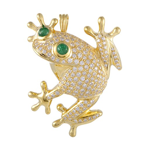 Luxury Bazaar Womens 18K Yellow and White Gold Diamond Pave and Emerald Frog (Emerald Frog Pendant)