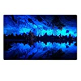Huang Long Cave China Blue Light Table Mats Customized Made to Order Support Ready 28 6/16 Inch (720mm) X 17 11/16 Inch (450mm) X 1/8 Inch (4mm) High Quality Eco Friendly Cloth with Neoprene Rubber Luxlady Large Deskmat Desktop Mousepad Laptop Mousepads Comfortable Computer Place Play Mat Cute Gaming Mouse pads