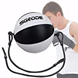 Professional PU Leather Boxing Ball, SGODDE Dodge Ball, Double End Punching Bag for MMA, Gym Boxing Sports, Speed Training, Bodybuilding Workouts with Floor to Ceiling Rope (Length 4.76 ft)