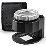 30X Illuminated Jewelers Loupe Magnifier, Adjustable Focal Length Double Optical Lens Loupe, Magnifying Glass for Circuit Board Coins Textile Embroidery Stamps Currency