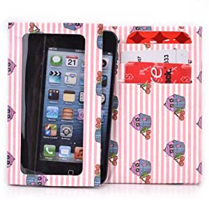 Tyvek Wallet for Smartphones - ZTE Prelude Paper Wallet (Pink Stripped Cupcakes)