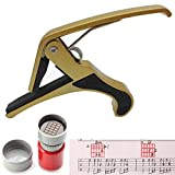 Onemax Guitar Capo with Common Chord Stamp for Folk Acoustic Electric Guitar Banjo and Ukulele (Gold)