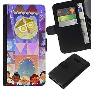 EJOY---La carpeta del tirón la caja de cuero de alta calidad de la PU Caso protector / Samsung Galaxy Core Prime / --Dibujo Niños Madre Circo