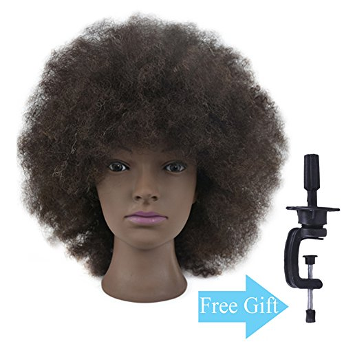 10 Mannequin Head African American with 100% Human Hair Cosmetology Afro Hair Manikin Head Doll Head with Free Clamp