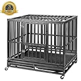 Heavy Duty Large Strong Metal Dog Cage Pet Kennel Crate Playpen with Wheels, Black