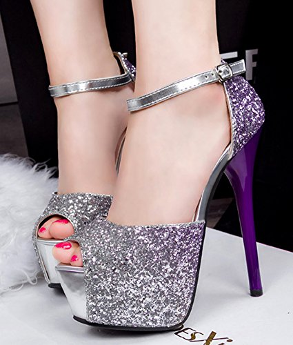 Sexy Sandals Purple Strap Heels Aisun Women's Platform Sequins Spikes Ankle Stiletto zAv65qTp