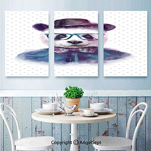 AngelSept Wall Art Canvas,Vintage Hipster Panda with Bow Tie Dickie Hat Horn Rimmed Glasses Watercolor Style,for Living Room Bedroom,16