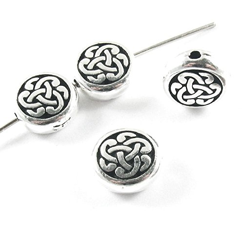 Tierracast Celtic Knot - Pewter Coin Beads-SILVER CELTIC CIRCLE TRIAD KNOT (4)