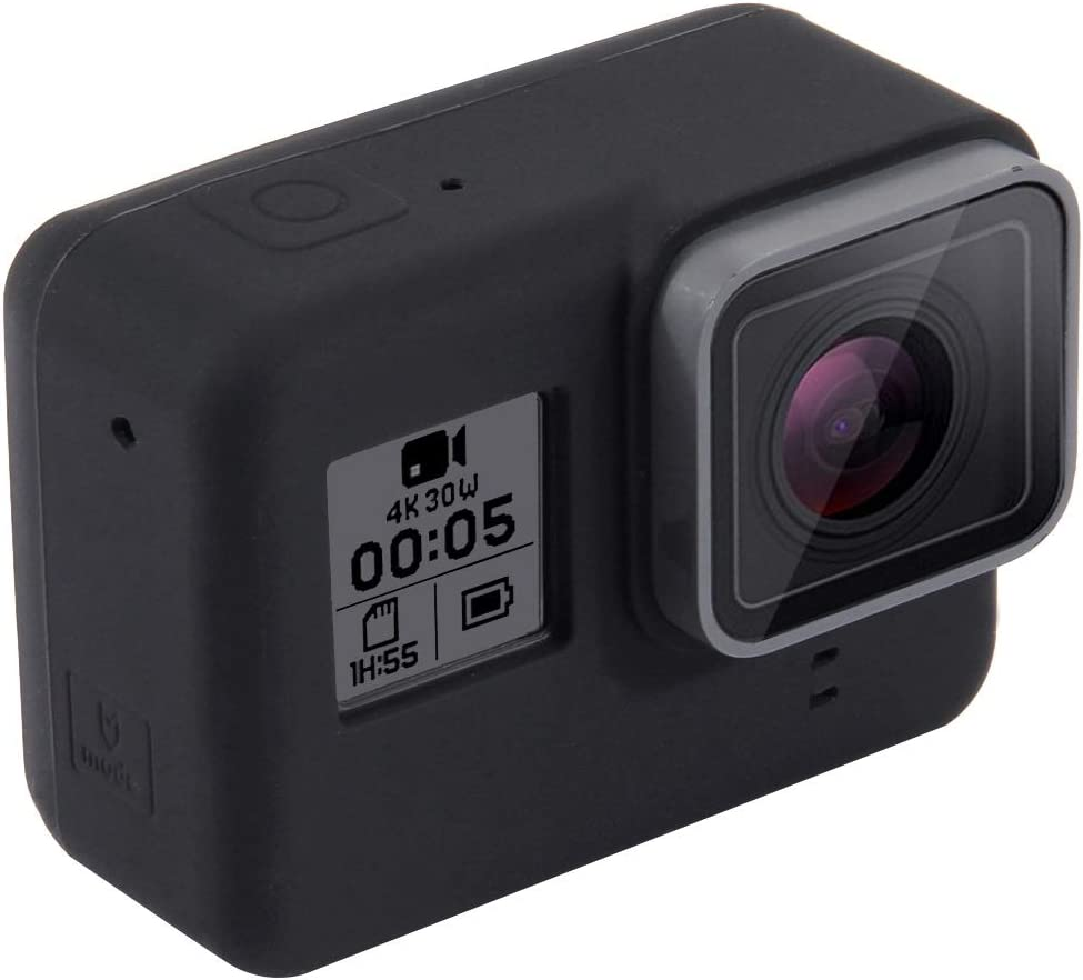 Color : Black 7 Silver //6//5 Black MEETBM ZIMO,Silicone Protective Case with Lens Cover for GoPro HERO7 Black //7 White