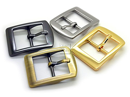 CRAFTMEmore Single Prong Belt Buckle Square Center Bar Buckles Purse Making Accessories Fits 1 Inch Strap Pack of 4 (1 Inch, Brushed Gold (Bronze))