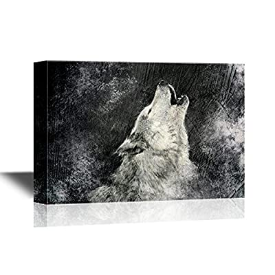 Alluring Expert Craftsmanship, Premium Product, Wolf Howling Wolf with Grunge Background in Black and White