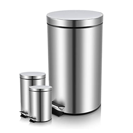 Amazoncom Round Step Stainless Steel Garbage Can With Lid And