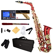 Mendini E-Flat Alto Saxophone, Red Lacquered and Tuner, Case, Pocketbook - MAS-RL+92D+PB