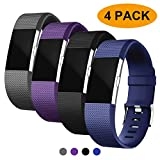 Fondenn Bands Compatible with Fitbit Charge 2, Classic Adjustable Replacement Sport Strap Bands for Fitbit Charge 2 Smartwatch Fitness Wristband (#Black/Grey/Slate/Plum, Small 5.5'- 6.7')