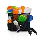 Large Mesh Beach Bag with Shoulder Strap. Great for Beach, Grocery, Picnics, and Camping. Holds Toys and Towels while leaving your hands free. (Black) by Simply Things