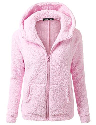 Thanth Womens Long Sleeve Fleece Zip Up Sweater Hoodie Jackets Pink S