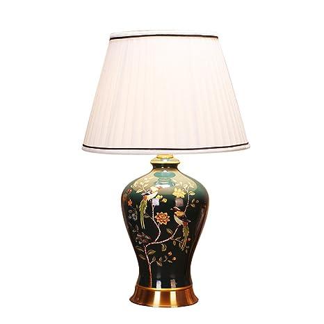 wysm Lámpara de mesa de cobre de cerámica 40 * 64 cm flor ...