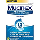 Chest Congestion, Mucinex 12 Hour Extended Release Tablets, 68ct, 600 mg Guaifenesin with extended relief of  chest congestion caused by excess mucus, thins and loosens mucus