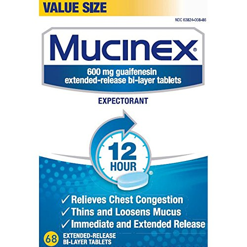 - Chest Congestion, Mucinex 12 Hour Extended Release Tablets, 68ct, 600 mg Guaifenesin with extended relief of  chest congestion caused by excess mucus, thins and loosens mucus
