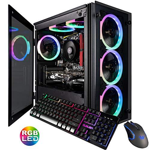 CUK Stratos Micro Gaming Desktop (AMD Ryzen 7 2700, 16GB DDR4 RAM, 512GB NVMe SSD, NVIDIA GeForce GTX 1060 3GB, 600W Gold PSU, Windows 10 Home) Gamer PC Computer
