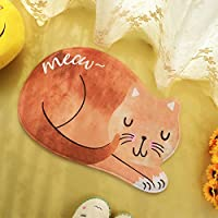 Glanzzeit Cat Shaped Area Rug Bedroom Dining Room Bathroom Small Carpet Cartoon Kitten Pattern Anti Skid Washable Floor Mat (2.0 x 3.0, Orange brown)