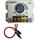 Kabenjee DC 12~24V PWM Dimmer Switch Knob ON/OFF Switch with White Flame-Retardant Plastic Shell,Full Range 0~100% Dimmer,Max 30A/720W for LED Strip Lights,Christmas LED Decoration(Style-C)