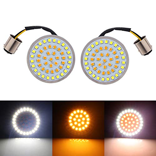 (Pair Motorcycle 2 inch Bullet Style 1157 White&Amber LED Rear Turn Signal Light Inserts For Harley Davidson,48 LEDs For Softail Dyna Sportster Tri Glide)