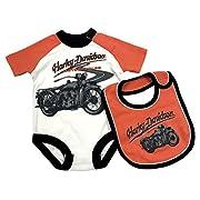 Harley-Davidson Baby Boys' Interlock Newborn Creeper & Bib Set 3051761 (6/9M)