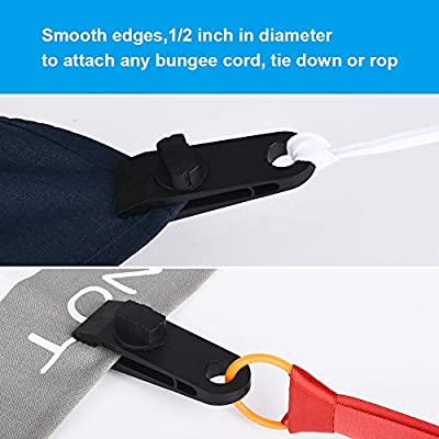 JOYISEN 6PCS Tent Clips Nylon Heavy Duty Lock Grip Tarp Clamps with Thumb Screw Tent Tarpaulin Clamps (Black, 8.3x2.7CM)