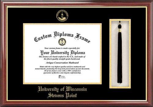 Univ. of Wisconsin-Stevens Point Pointers - Embossed Seal - Tassel Box - Mahogany - Diploma Frame