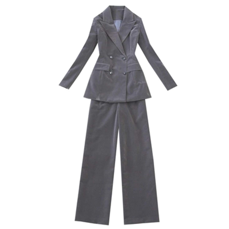2 Women's Pant Suit Set Autumn Winter Velvet Slim DoubleBreasted Blazer Suit+Wide Leg Pants TwoPiece Office Lady Work Wear Set