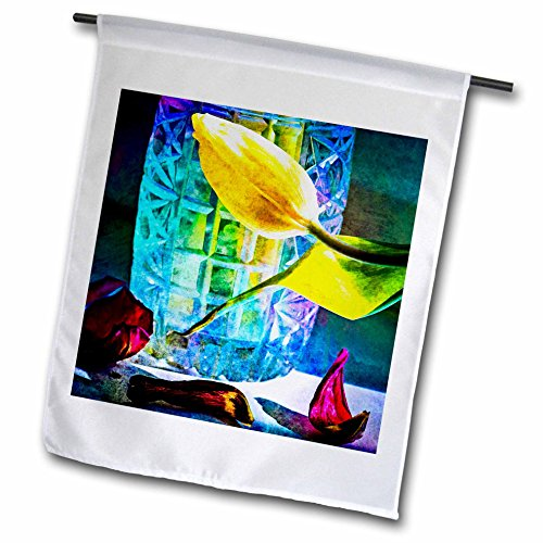 Crystal Flora Vase (3dRose Alexis Photography - Flowers Tulip - Sunlit tulips and crystal vase. Decay - 12 x 18 inch Garden Flag (fl_267123_1))